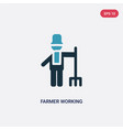 two color farmer working icon from people concept vector image vector image