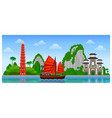 Vietnam skyline with colorful buildings and blue