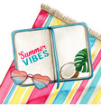 watercolor diary on beach towel with heart glasses vector image vector image