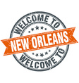 welcome to New Orleans orange round ribbon stamp vector image vector image