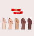 woman hands clenched fists feminist protest vector image vector image