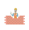 young bricklayer working with spatula and brick vector image vector image