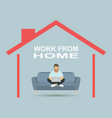 young business man working with laptop on sofa vector image vector image