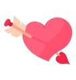 Pink heart with arrow icon cartoon style vector image