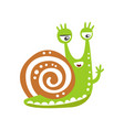 funny snail character waving its hand cute green vector image