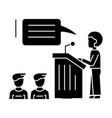 speaker presentation podium stand icon vector image