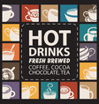 banner with logos or icons with cups of hot drinks vector image