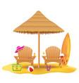 beach armchair lounger deckchair wooden and vector image