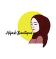 beautiful stylish hijab girl logo brand vector image vector image
