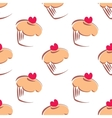 Big muffin cupcake background on white vector image