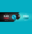 black friday and cyber monday banner long narrow vector image vector image