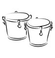 bongo drums sketch on white background vector image vector image