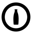 bottle black icon in circle vector image
