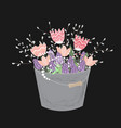 bouquet of spring doodle flowers in grey bucket vector image