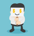 businessmen who show respect for money and needs vector image vector image