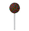 cake pop chocolate dessert with colored sprinkles vector image