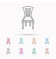 Chair icon Seat furniture sign vector image