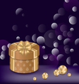 Christmas background with gift box and pearls vector image vector image