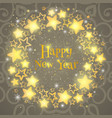 christmas wreath circle composition with gold vector image