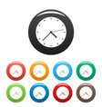 clock modern icons set color vector image vector image