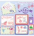 Collection of Christmas envelops postcards stamps vector image vector image