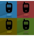 Color set Mobile phone Flat modern web button with vector image