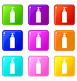 cosmetic bottle set 9 vector image vector image