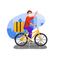 courier in mask riding bike with thermobag along vector image