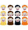 Cute Girl Heads Set vector image