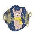 cute lama isolated cartoon vector image
