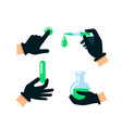 doctor or scientist hands in latex gloves nuclear vector image vector image