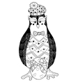 Egg and penguin doodle vector image