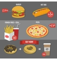 Fast food price set poster label vector image vector image