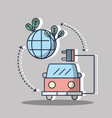 firetruck with power cable and planet with leaves vector image vector image