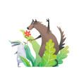 forest animals nursery birthday art rabbit vector image