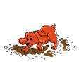 funny brown spaniel dog runs and jumps through the vector image