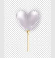 glossy white air balloon in heart form of vector image vector image