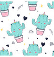 hand drawing unicorn cactus and slogans vector image vector image