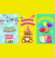 happy birthday kids postcard set vector image
