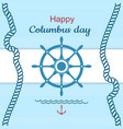 happy columbus day poster vector image vector image