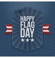 Happy Flag Day greeting Label with Ribbon vector image vector image