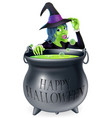 happy halloween witch and cauldron vector image vector image