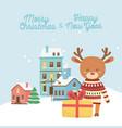 happy new year 2020 merry christmas reindeer vector image vector image