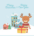 happy new year 2020 merry christmas reindeer with vector image vector image