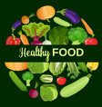 healthy vegetables and vegetarian food vector image vector image