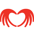 Heart from hands vector image vector image
