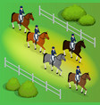 issometric racehorses and lady jockey in uniform vector image