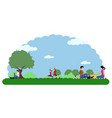 landscape of a park with people relaxing vector image