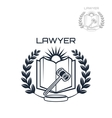 Lawyer emblem of wreath book and gavel vector image vector image