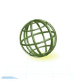 linear 3d icon green globe green tubes in shape vector image